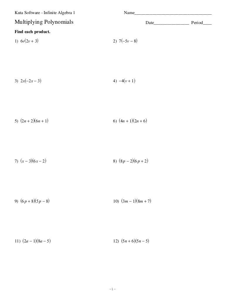 Printables Multiplying Polynomials Worksheet multiplying and dividing polynomials worksheets with answers math worksheet multiply a2 4 lesson 7 practice b and