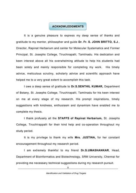 Acknowledgement for dissertation