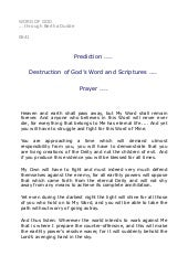 0641   Prediction .... Destruction of God's Word and Scriptures .... Prayer ....