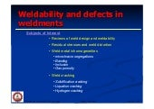 weldability and defects in weldments