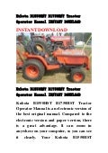 Kubota B1550HST B1750HST Tractor Operator Manual INSTANT DOWNLOAD
