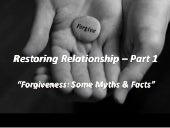 Restoring Relationships - Part 1