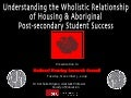 Housing ‐ Understanding Its Wholistic Relationship to Aboriginal Post‐Secondary Student Success