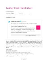 Twitter Card Cheat Sheet