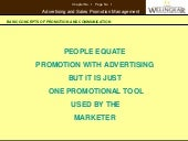 Advertising and Sales Promotion: Basic concepts of promotion and communication