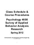 PSY 4600 Spring 2012 Course Procedures