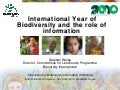 International Year of Biodiversity and the role of information