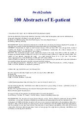 100 abstracts of e patient. Fattori
