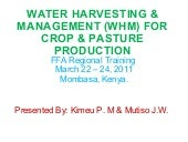 RHM for improved crop & pasture pro...