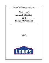 lowe's Proxy Statement2007