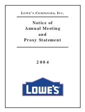 lowe's Proxy Statement 2004