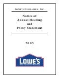 lowe's Proxy Statement 2002