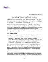 FedEx Corp. Reports First Quarter E...