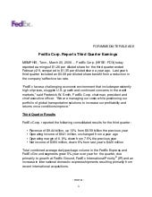 FedEx Corp. Reports Third Quarter E...