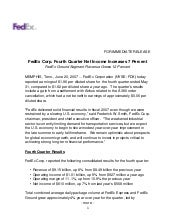 FedEx Corp. Fourth Quarter Net Inco...