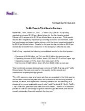 FedEx Reports Third Quarter Earning...
