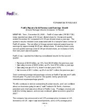 FedEx Reports Solid Revenue and Ear...