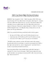FedEx Corp. Reports Higher First Qu...