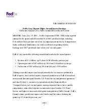 FedEx Corp. Reports Higher Second Q...