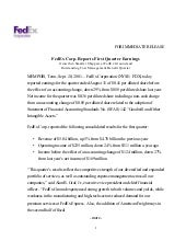 View Summary  	FedEx Corp. Reports ...