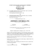 johnson controls  FY2005 1st Quarte...