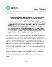merck  	3Q06 Earnings Release