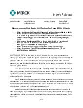 merck 	1Q05 Earnings Release
