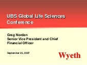 wyeth UBS Global Life Sciences Conf...