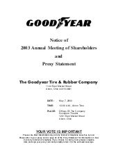 goodyear Proxy Statement 2003