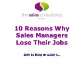 10 Reasons Why Sales Managers Lose Their Jobs