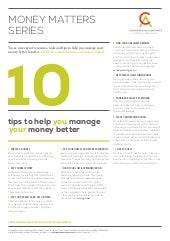 10 tips to help you manage your money better