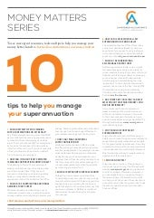 10 tips to help you manage your superannuation