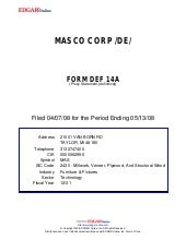 masco Proxy Statements 2008