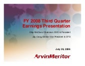 arvinmeritor 2008 Q3 Earnings ARM