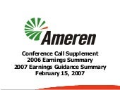 ameren Q4_2006_EarningsSummary