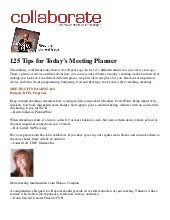 125 Tips For Todays Meeting Planner