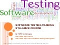 Software testing Training Syllabus Course