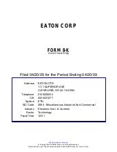 Q1 2009 Earning Report of Eaton Corp