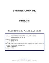 Q1 2009 Earning Report of Danaher C...