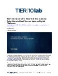 Tier10 to Cover 2013 New York International Auto Show in Real Time on Various Digital Platforms
