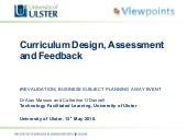 Curriculum Design, Assessment and F...