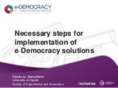 Necessary steps for implementation ...