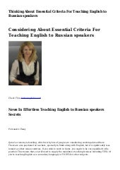 Thinking About Essential Criteria For Teaching English to Russian speakers