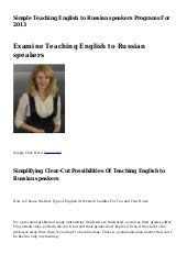 Simple Teaching English to Russian speakers Programs For 2013