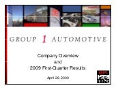 Q1 2009 Earning Report of Group 1 A...
