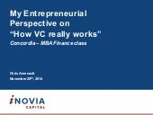 "My Personal Entrepreneurial Perspective on ""How VC really works"" - Concordia University  – MBA Finance class"