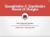PDU 211 Research Methods: Quantitative & Qualitative Research Designs