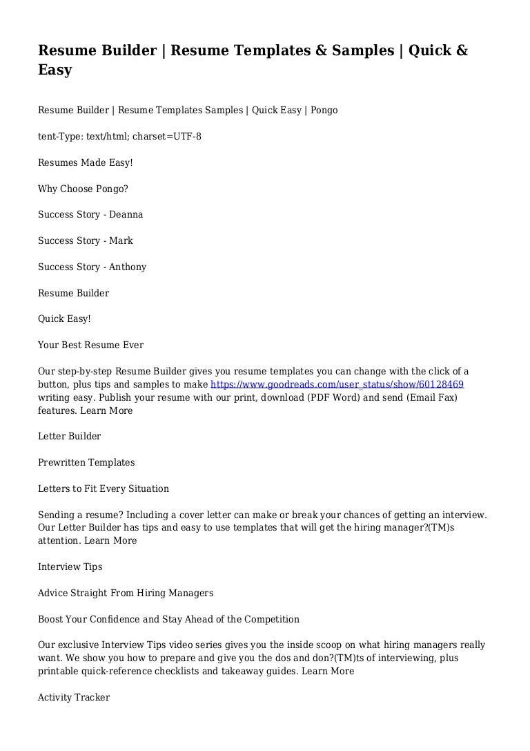 fast easy resume builder cipanewsletter resume builder resume templates u0026 samples quick u0026 easy