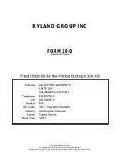 Q1 2009 Earning Report of Ryland Gr...