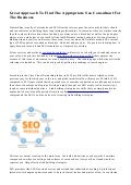 Great Approach To Find The Appropriate Seo Consultant For The Business